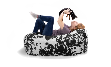 Lounger 4' Kids Bean Bag Cow Print on white with model and small dog