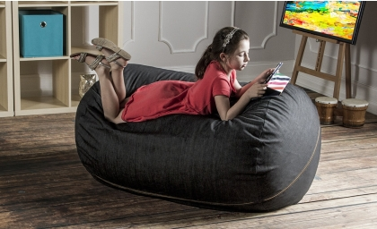 Lounger 4' Kids Bean Bag - Denim