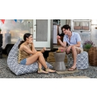 Couple seated on the Nippon Koi Outdoor Bean Bag Collection