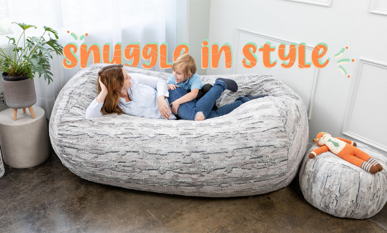 Family relaxing on Jaxx faux fur beanbags