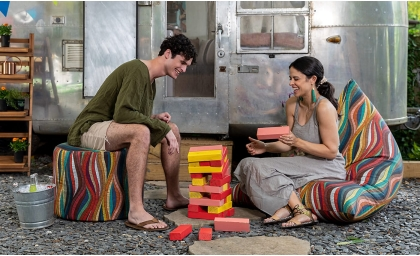Couple playing games| Tempo Outdoor Bean Bag Collection in Kenyan Ropes Fabric