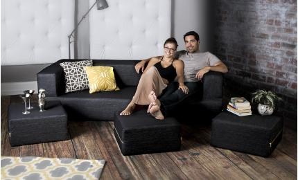 Zipline Convertible Sleeper Sofa & Ottomans - Denim Black