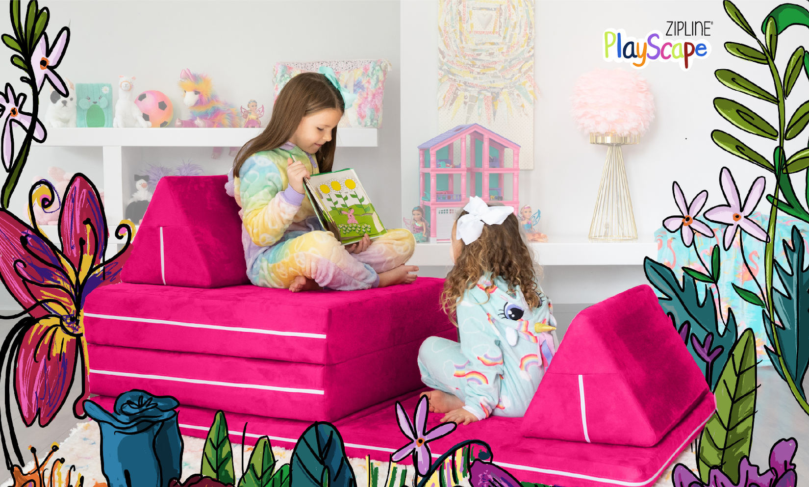 Girls reading on the Zipline Playscape Kids Couch
