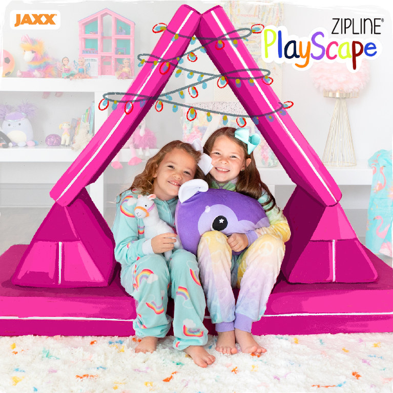 Girls playing with the Zipline Playscape Kids Couch